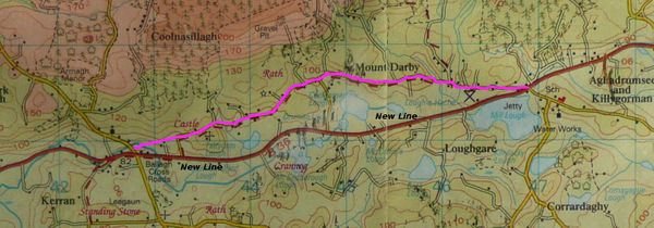A map showing the old road(Marked in purple)